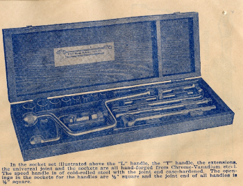 Illustration of wooden boxed tool set from 1927 catalog
