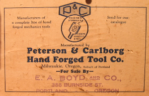 Timothy Peterson wooden toolbox paper label