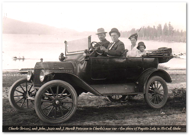 Charlie & John Peterson family in model T in McCall, Idaho