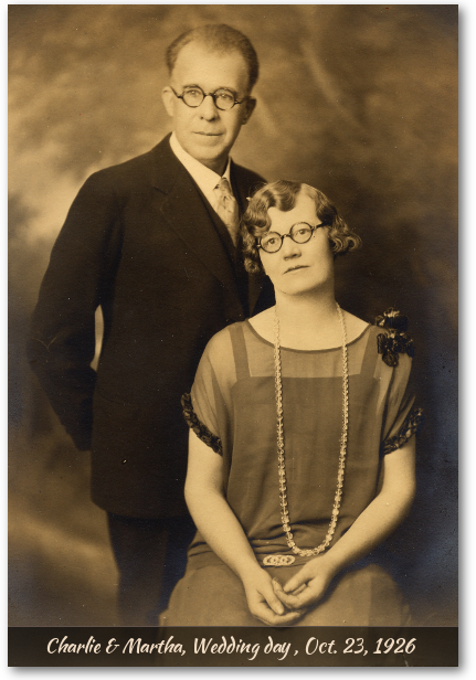 Charlie and Martha Carlborg on their wedding day, 1926