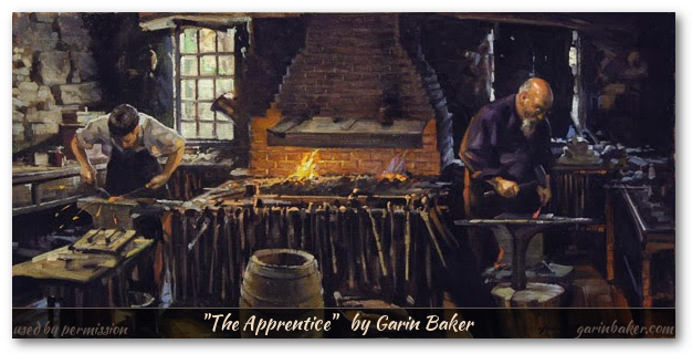 Garin Baker painting of blacksmith and apprentice